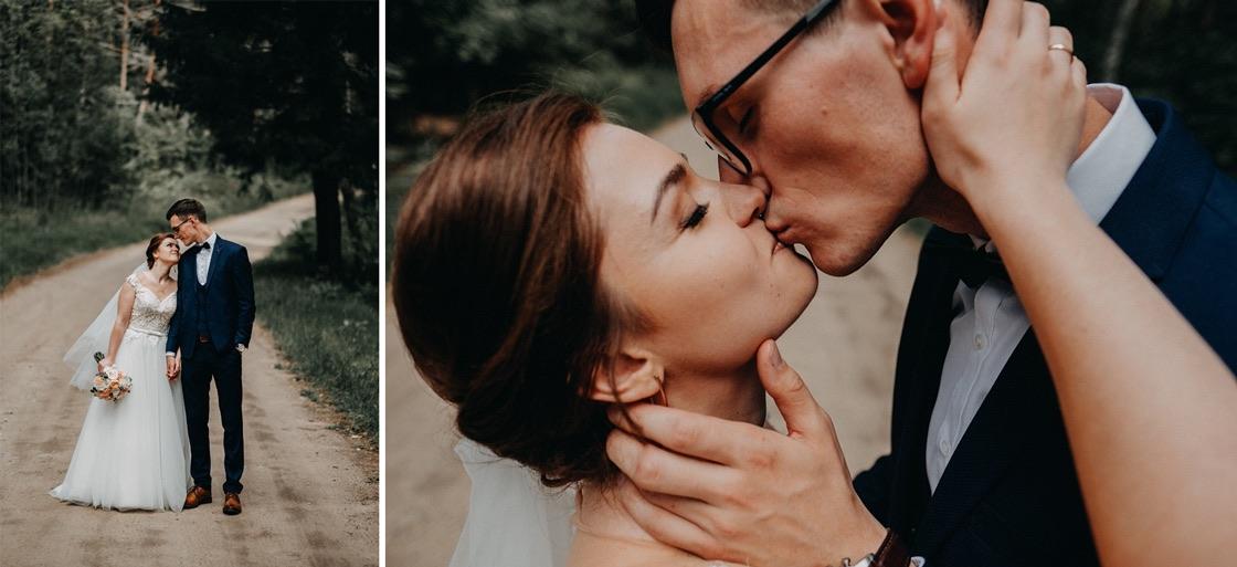 Vestuvinė fotosesija Trakuose miškas jaunieji bučinys Vilnius fotografas