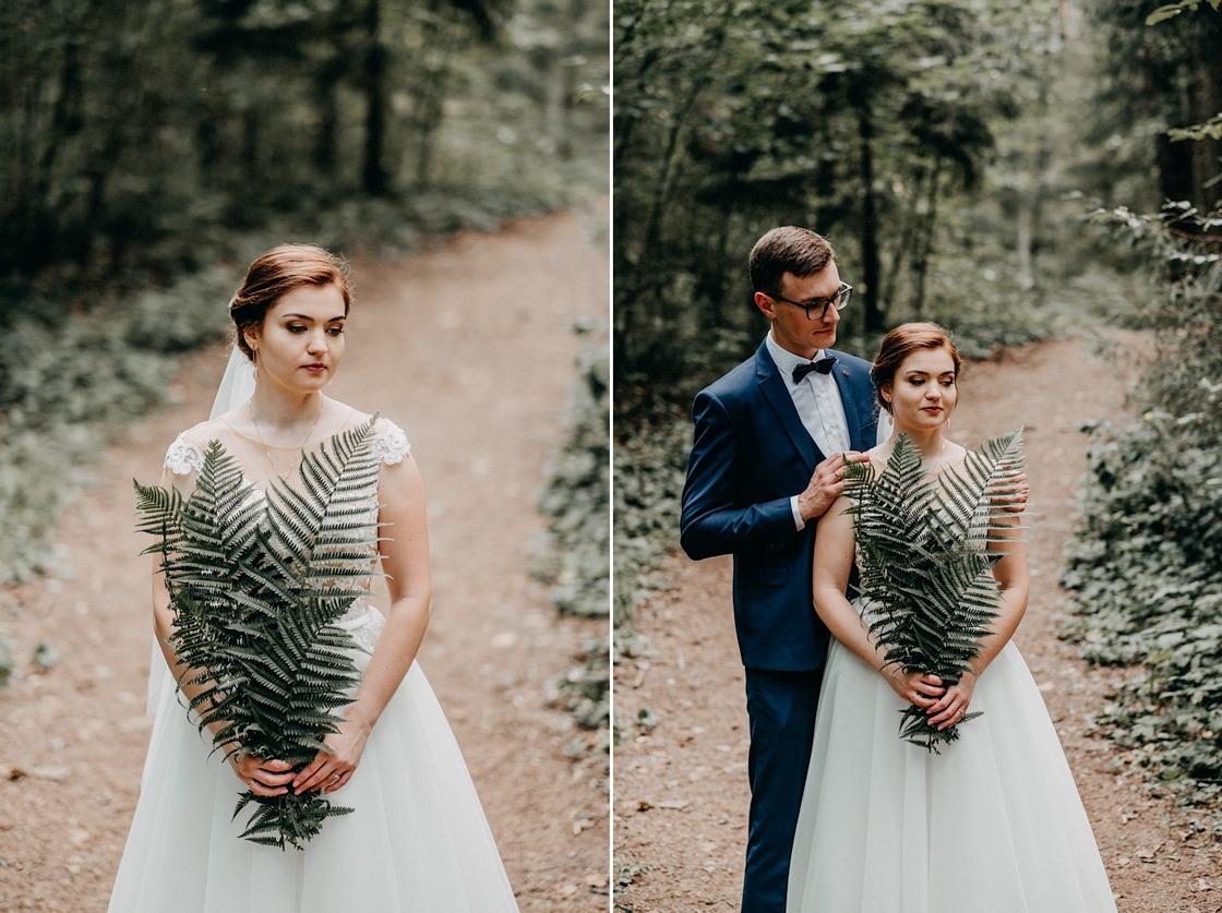 Vestuvinė fotosesija Trakuose miškas jaunieji papartis Vilnius fotografas