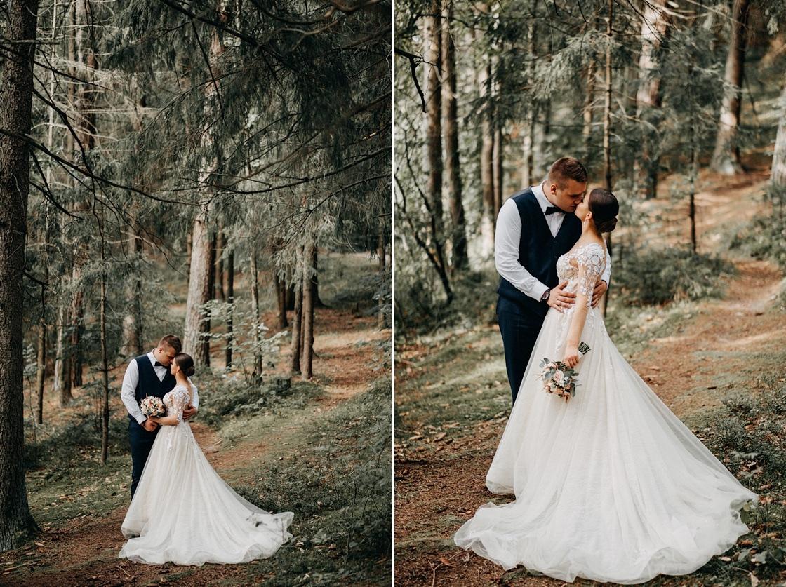Vestuvinė fotosesija jaunieji miškas suknelė kostiumas puokštė liemenė Vilnius Kaunas Klaipėda fotografas