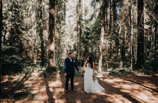 miškas jaunieji kostiumas mėlynas suknelė boho rustic puokštė gamta fotografas Martynas Musteikis geriausias best wedding fotosesija